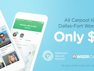 Waze Carpool Launches Pilot Program Offering $2 Trips in Dallas-Fort Worth