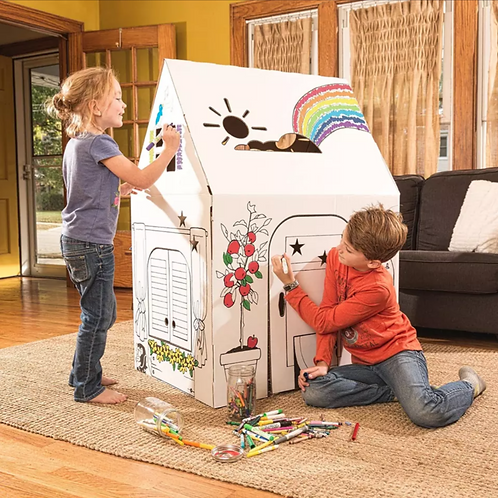 Kid Size Colouring Cardboard House