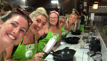 Carly, Cat, Hana & Kim at our cooking & cocktail class, Koh Lanta, Thailand
