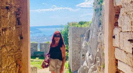 Avril exploring Klis Fortress, Split, Croatia