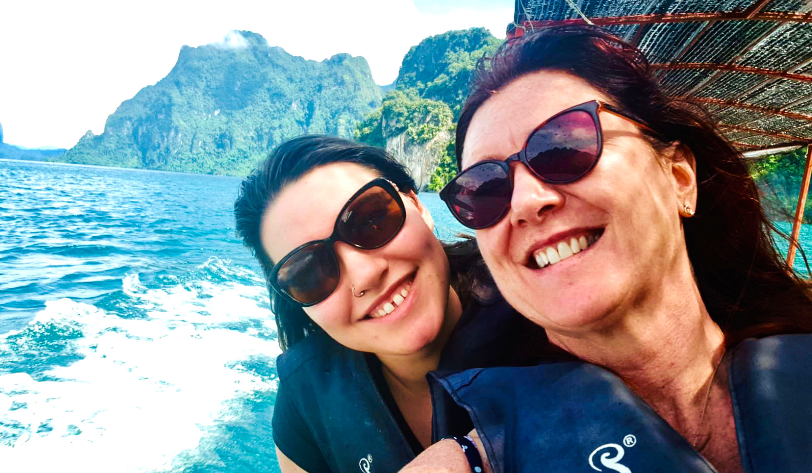 Felice and Avril on Khao Sok boat trip, Thailand