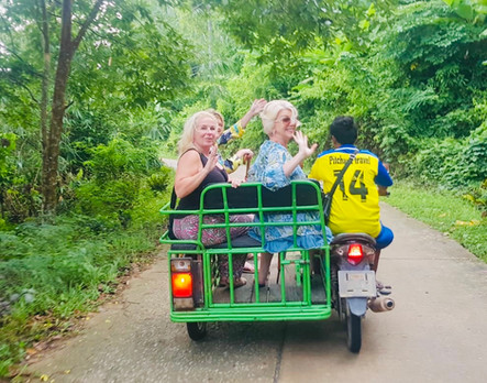 Motorbike taxis through the jungle