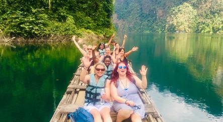 Hannah and the gang enjoying a raft ride to caves at Khao Sok National Park, Thailand
