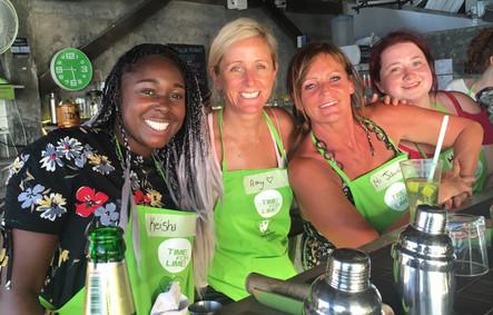 Keisha, Amy, Julie & Hannah making cocktails, Koh Lanta, Thailand