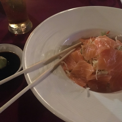 Salmon sashimi at Koh Mook Sivalai Resort and Spa Restaurant  Travel Queen