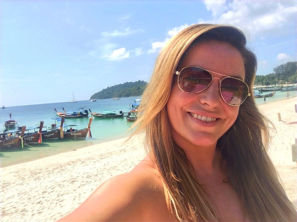 Travel Queen owner Mel on the beach in Koh Lipe: Small luxury group tours, adventures, travel and holidays for solo / single women in 20s, 30s, 40s and 50s with Travel Queen
