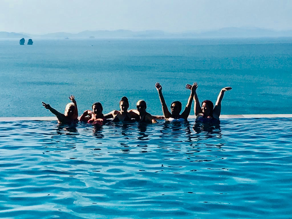 Vick and the girls loving our 5* hotel infinity pool, Koh Yao Yai, Thailand