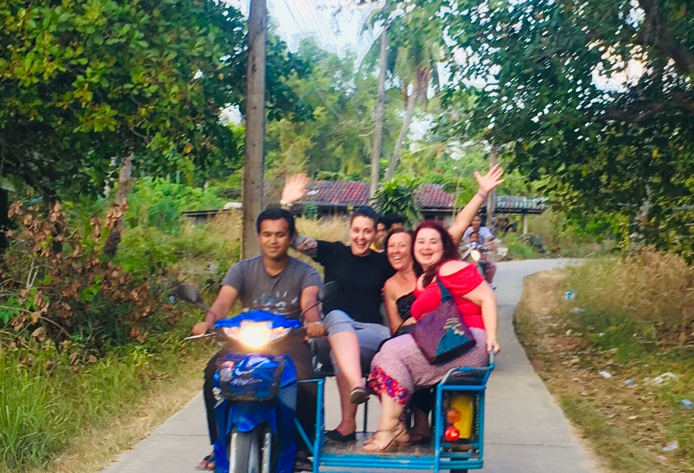 Vicky, Nicki & Hannah in motorbike taxi, Koh Mook, Thailand