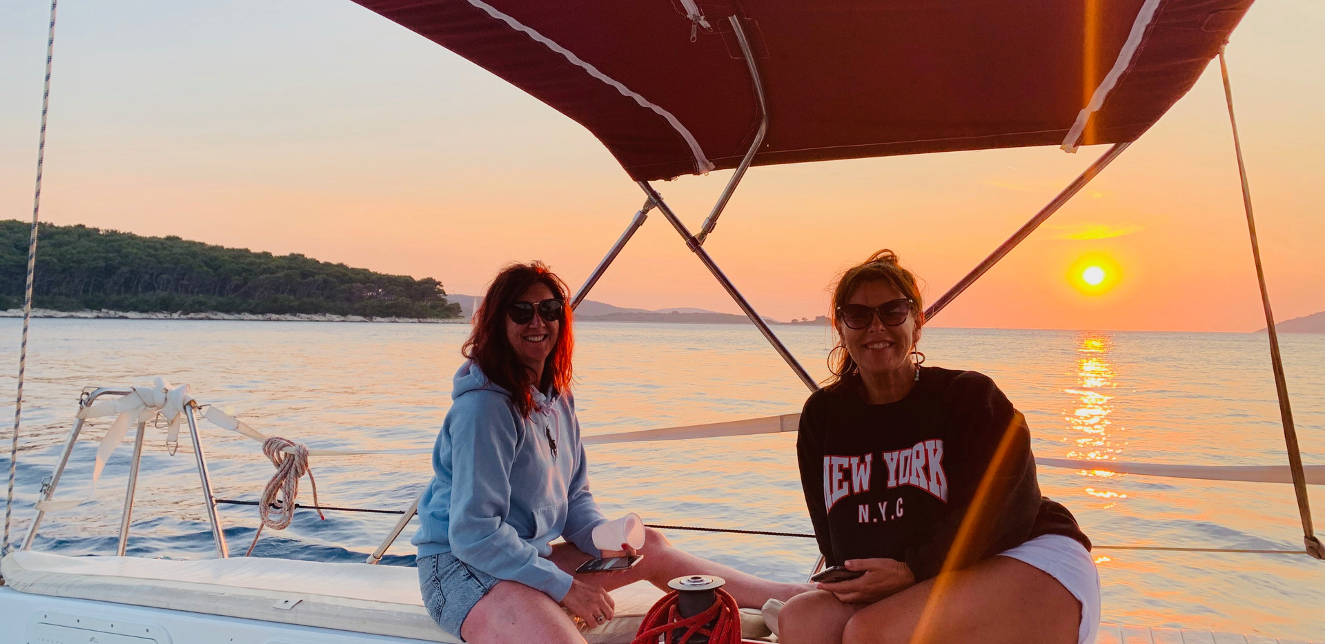 Avril and Dawn enjoying our private Pakleni Islands sailing trip, Hvar, Croatia