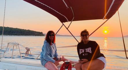 Avril and Dawn enjoying our private Pakleni Islands sailing trip, Hvar, Croatia