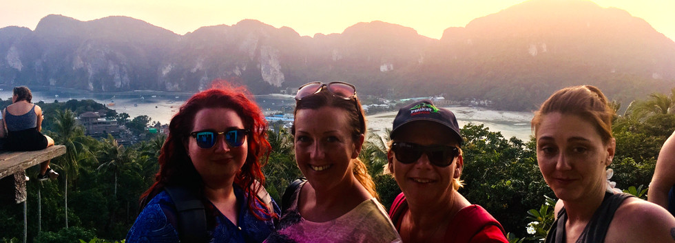 Hannah, Nicki, Del & Vicky after hiking to Koh Phi Phi viewpoint for sunset, Thailand