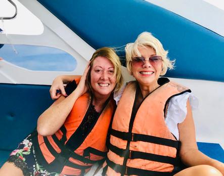 Christina & Paula on speedboat, Thailand