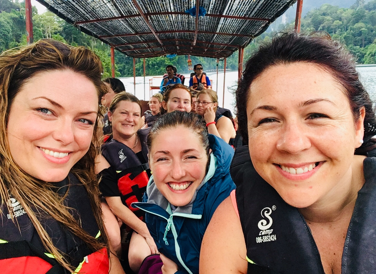 Mel, Carly Rach and group on Khao Sok boat trip, Thailand