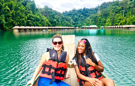 Stacey and Felice on lake, Khao Sok National Park, Thailand