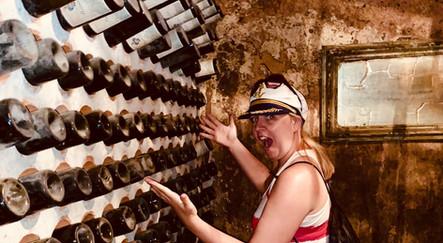 Rachel exploring a vineyard on our wine tour, Hvar, Croatia