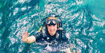 Hana trying scuba diving in Koh Lipe, Thailand