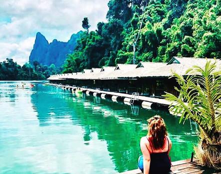 Bex at raft house on lake, Khao Sok, Thailand