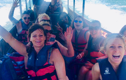 Julie and the gang on lake boat trip, Khao Sok National Park, Thailand
