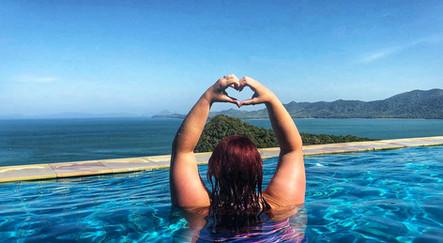 Hannah loving our 5* hotel infinity pool, Koh Yao Yai, Thailand