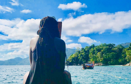 Stacey on longtail boat, Thailand