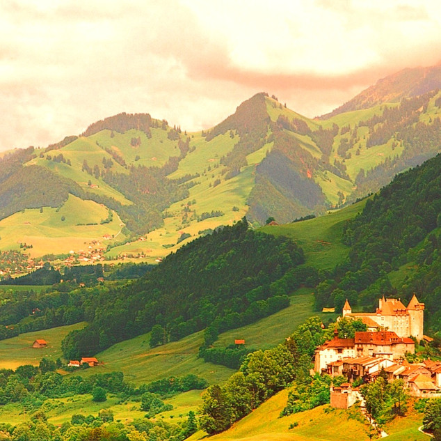 Gruyères Castle and prealpine landscape