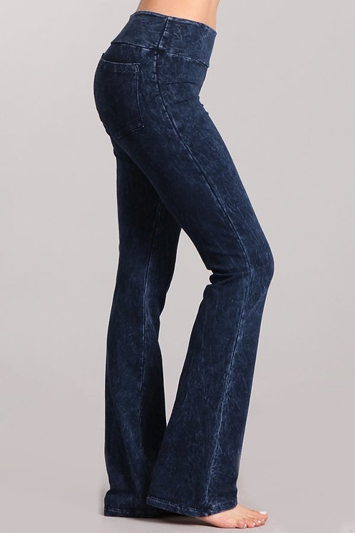 French Terry slim bootcut pant