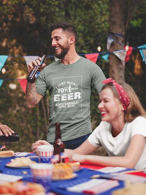 I Just Want To Drink Beer And Smoke Some Meat Jersey Short Sleeve Tee