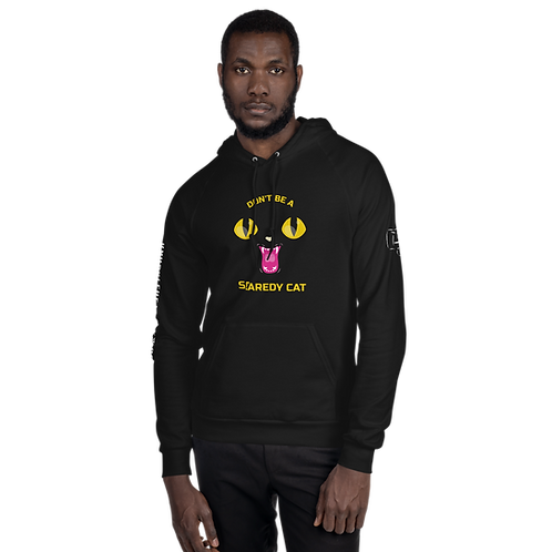 Don't Be A Scaredy Cat Black Unisex Fleece Hoodie