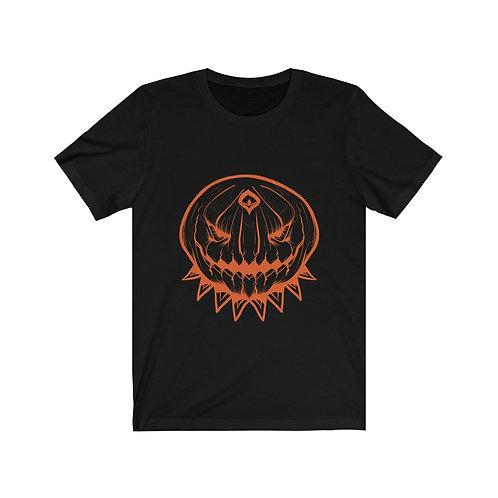 Creepy Pumpkin Black Unisex Jersey Short Sleeve Tee