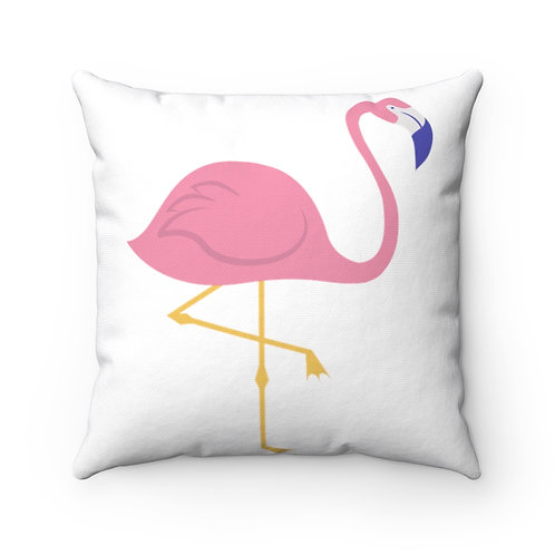 Pink Flamingo Spun Polyester Square Pillow