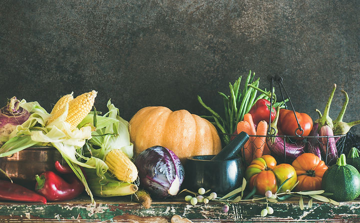 Fall vegetarian food ingredient variety. Assortment of various Autumn vegetables for healt