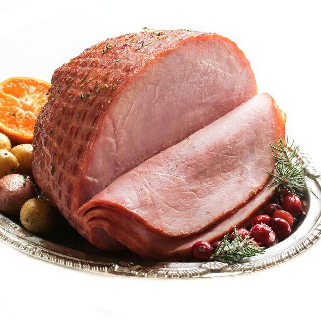 Holiday Ham isolated on white, selective