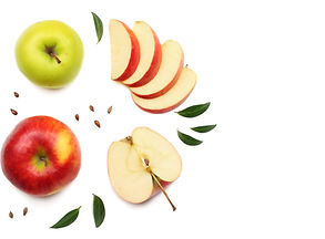green and red apples with slices isolate