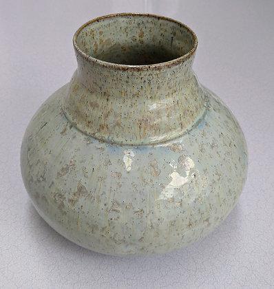 Large stoneware vase. Copper crystal glaze.
