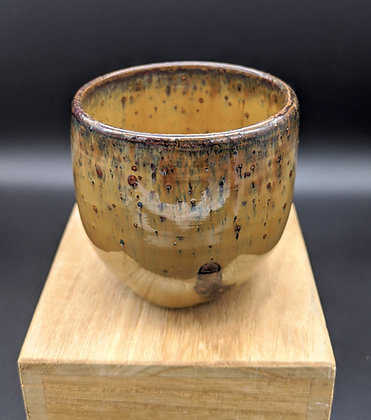 Burnt Honey spotted stoneware cup. Double glazing. 90 ml