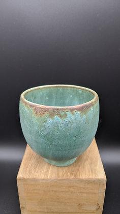 Antique Bronze glaze on stoneware cup. Single glazing.  120 ml