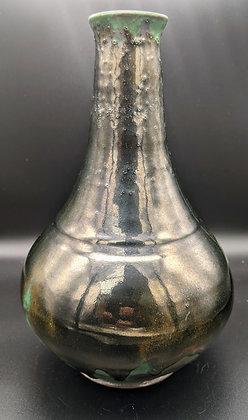 """""""Liquid Bronze"""" slim necked vase. Single glazing."""