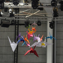 Volée de Grues origami géante - Création du Mobile pour adecco/sagarmatha 2016