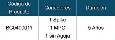 Tabla de Especificaciones para Bolsas de Recolección y Contenedor de Médula Ósea