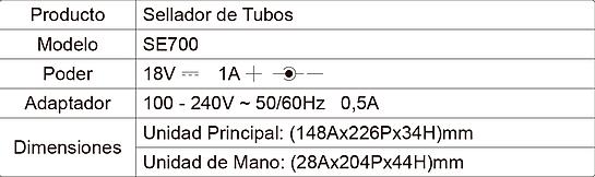 Tabla de Especificaciones SE700