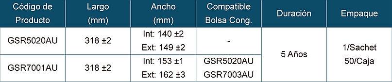 Tabla de Especificaciones para Bolsas EVA para Congelación de Tejidos