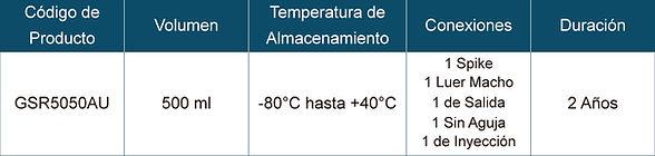 Tabla de Especificaciones Congelación y Centrifugación