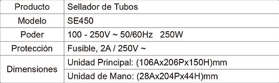 Tabla de Especificaciones Sellador SE450