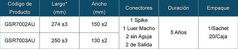 Tabla de Especificaciones para Bolsa EVA para Congelamiento de Tejidos con Conexión