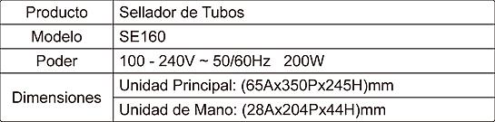 Tabla de Especificaciones Sellador SE160