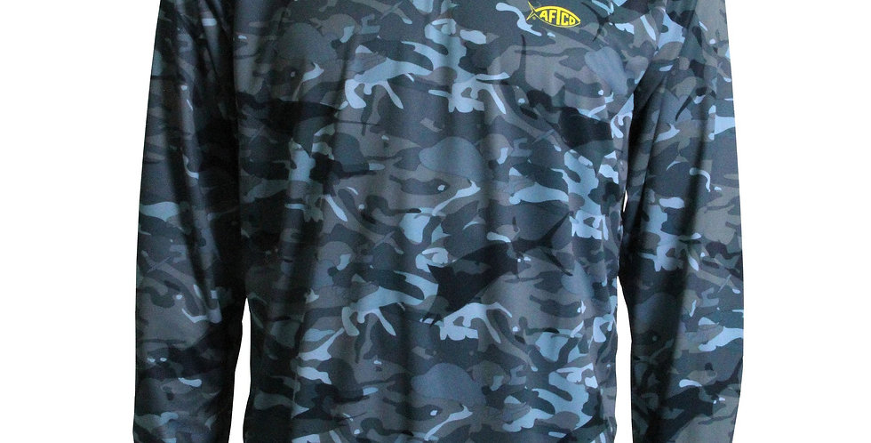 AFTCO Playera Caster Camo Fishing Shirt Performance Manga Larga