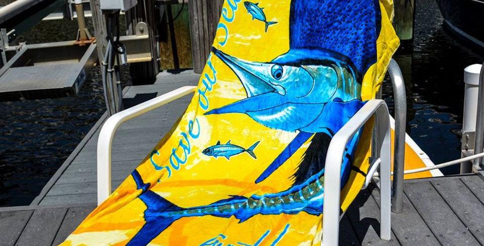 Guy Harvey Toalla de Playa SailFish Amarillo