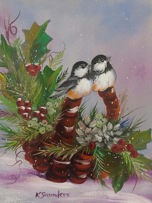 """Chickadee Holiday Cheer"" 11"" x 14"" oil on canvas"