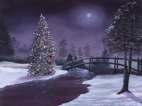 """Moonlit Christmas Eve"" 18"" x 24"" oil on canvas"