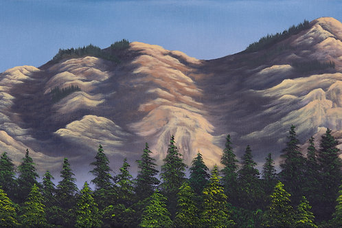 """""""Sunlit Summer Mountain"""" 12"""" x 24"""" oil on canvas"""